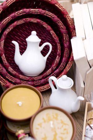 two ceramic teapots on a market Stock Photo - 5914941