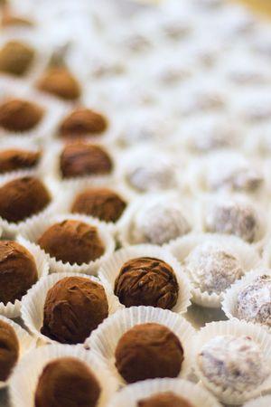 chocolate truffles close up photo