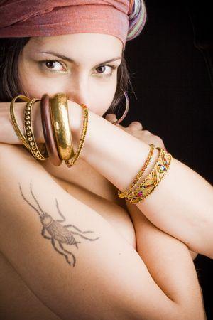 CloseUp portret van aantrekkelijke Aziatische vrouw Stockfoto - 5912553