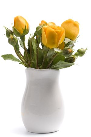 yellow flowers bouquet on white background photo