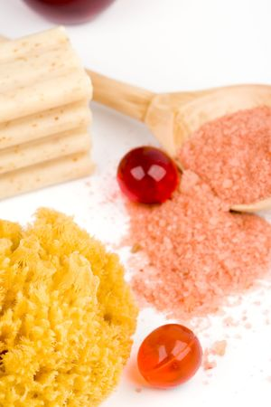 cosmetic products - sea salt, sponge, soap and oil balls photo