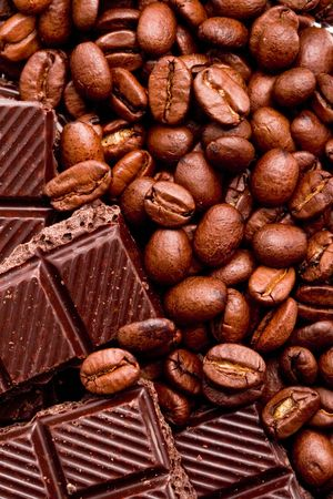 coffee beans and black chocolate background Stock Photo - 5951620