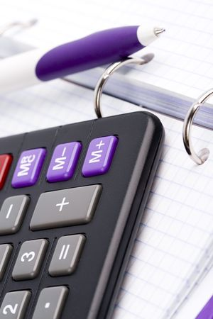 business organizer, pen and calculator Stock Photo - 5951768