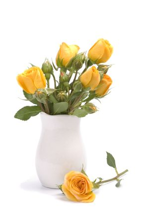yellow flowers bouquet on white background Stock Photo - 5991461