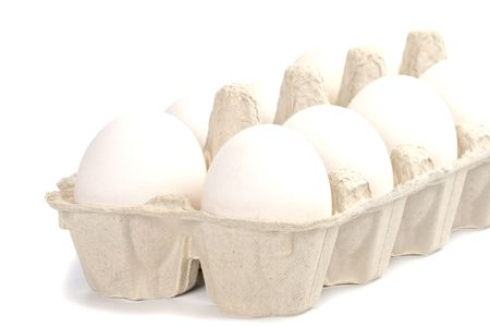 white eggs in packing closeup  photo