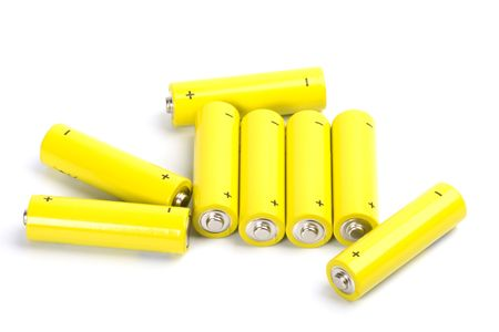 eight yellow alkaline batteries isolated on white backgroun Stock Photo - 5991764