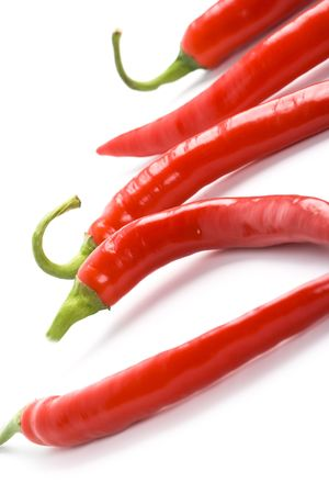 five red chilly peppers closeup on white background photo
