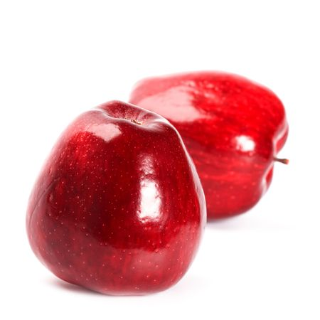two red apples isolated on white background photo
