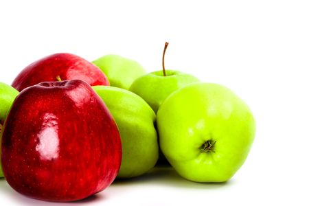 heap of green and red apples closeup Stock Photo - 6114394