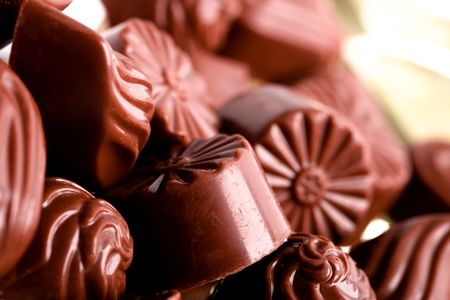 macro image of chocolate sweets. closeup. photo