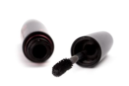 black mascara closeup on white background  photo