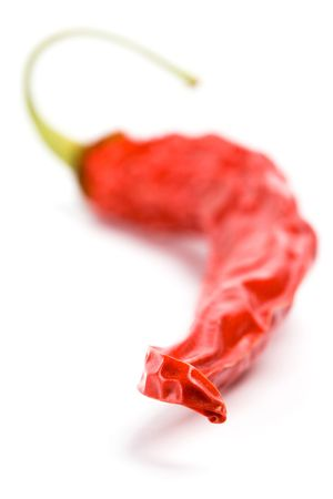 dry red chilly pepper closeup on white background Stock Photo - 6284139