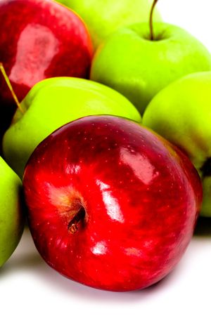 heap of green and red apples closeup Stock Photo - 6309453