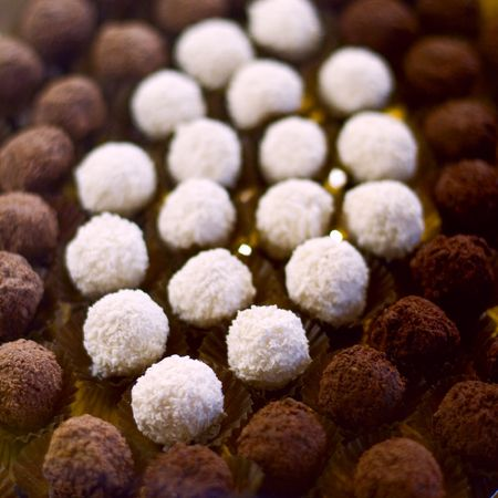 confectionary: chocolate truffles close up Stock Photo
