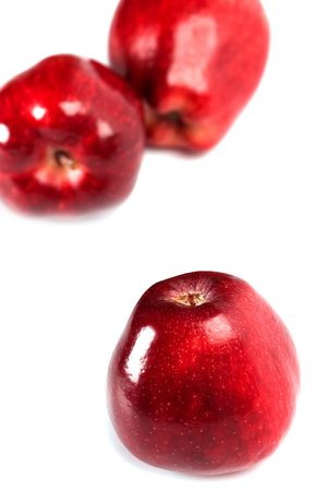 three red apples isolated on white background Stock Photo - 6363645