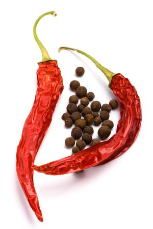 pimento: spices: aromatic pepper and pimento on white background