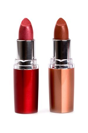 two lipsticks isolated on white background photo