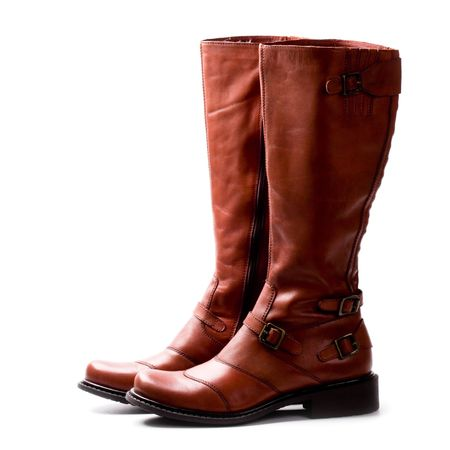 pair of brown boots isolated on whire background photo