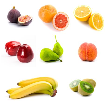 collectoin of fresh fruits isolated on the white background  Stock Photo