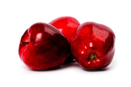 three red apples isolated on white background Stock Photo - 6485769