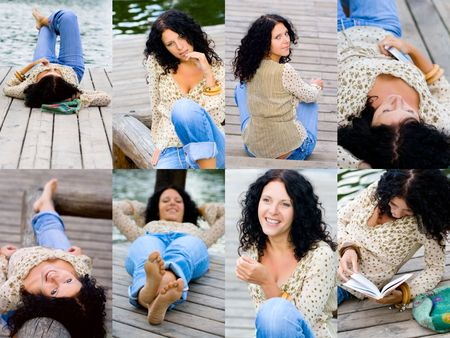 beautiful happy brunet woman on wooden floor near the lake collection   photo