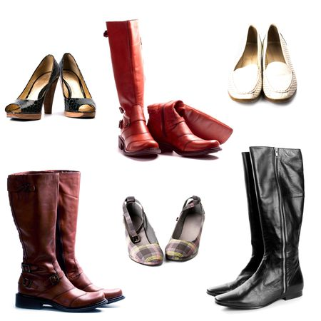 shoes and boots isolated on white background collection Stock Photo - 6485796