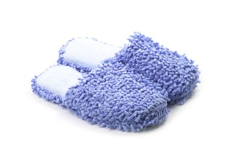 blue slippers isolated on a white background.  Stock Photo