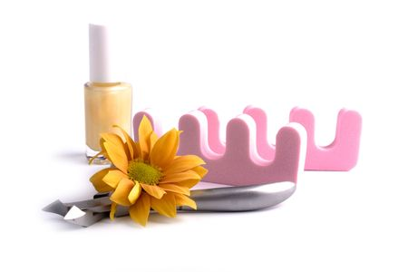 pedicure beauty set and flower closeup Stock Photo