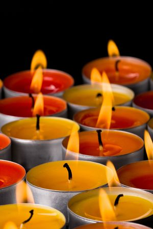 flaming candles on a dark background Stock Photo - 7030015