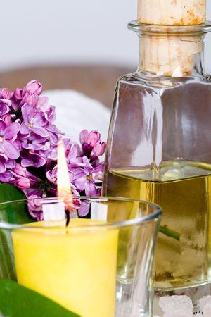 bath and spa items (oil, salt, lilac, candle) photo