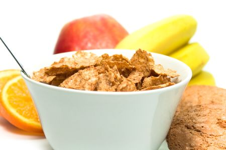 healthy breakfast closeup on white background photo