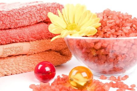 spa products: bath salt, towels, balls and yellow flower Stock Photo - 7074086