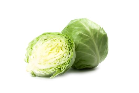 two and a half: green cabbage isolated on white background Stock Photo