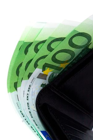 euro and a leather purse closeup on white background Stock Photo - 7074084
