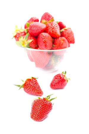 strawberries in the bowl closeup on white background Stock Photo - 7103173