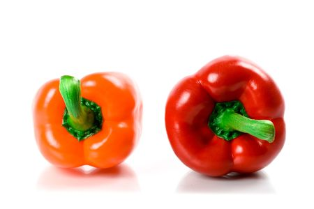 two bell peppers isolated on white background photo