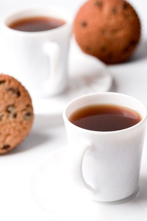 two cups of coffee and muffins closeup Stock Photo - 7117849