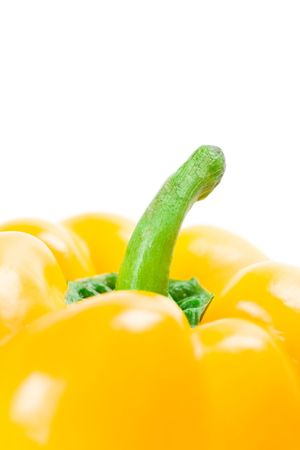 yellow bell pepper closeup on white background photo