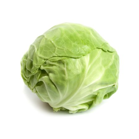 Repollo: cabeza de repollo verde vegetal aislado sobre fondo blanco