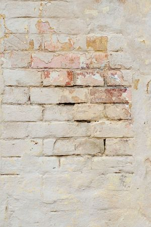 old crumbled clay brick wall background