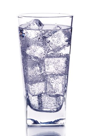 glass with ice water isotated on white background