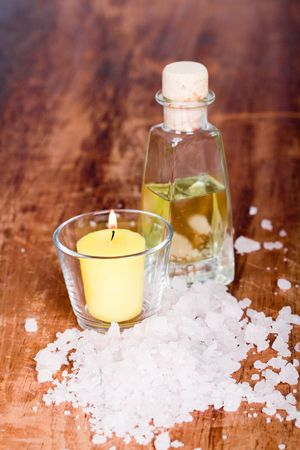 bath and spa items (oil, salt, candle) photo