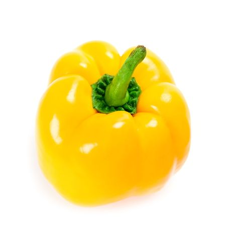 yellow bell pepper isolated on white background photo