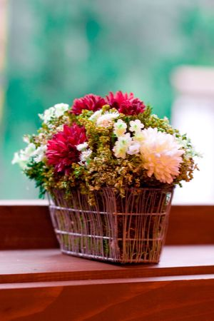 bouquet of flowers on the windowsill photo