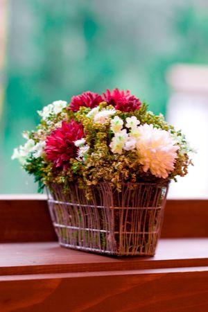 bouquet of flowers on the windowsill photo