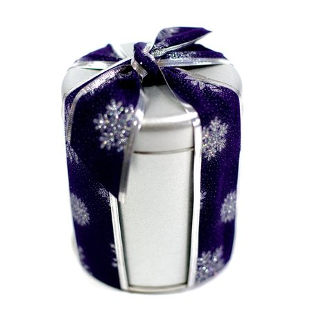 metal gift box with beautiful blue decoration Stock Photo - 7634519