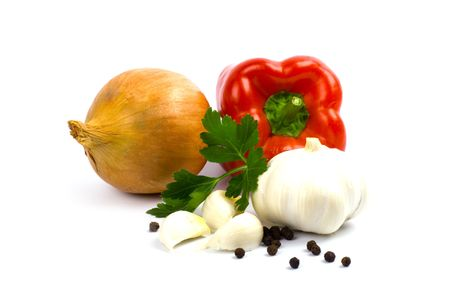 fresh garlic: fresh vegetables isolated on white background