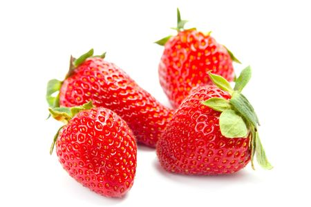 four fresh strawberries on white background Stock Photo - 7635069