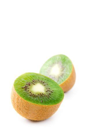 two slices of kiwi isolated on white background photo