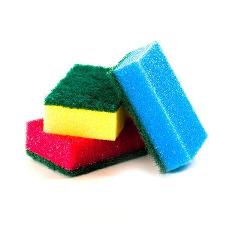 three sponges isolated on white background  photo